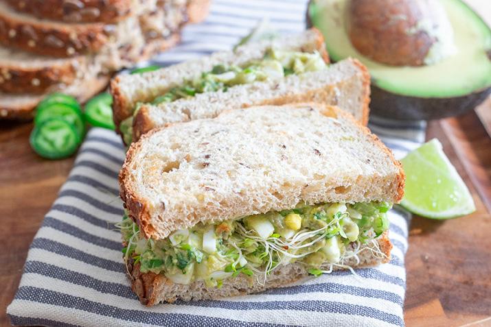 Spicy Avocado Egg Salad Sandwich