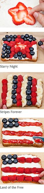 Making Stars and Stripes sandwiches
