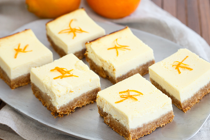Cheesecake-like tangerine ricotta bars