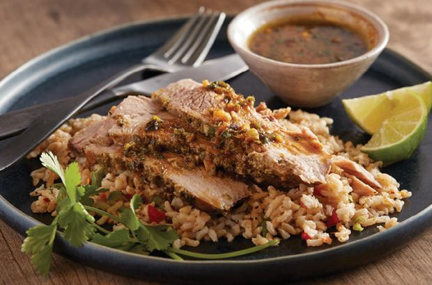Citrus-Chile Pork with Herb Sauce over Rice