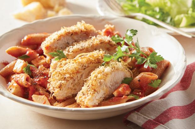 Chicken Parmesan with Penne and Mozzarella