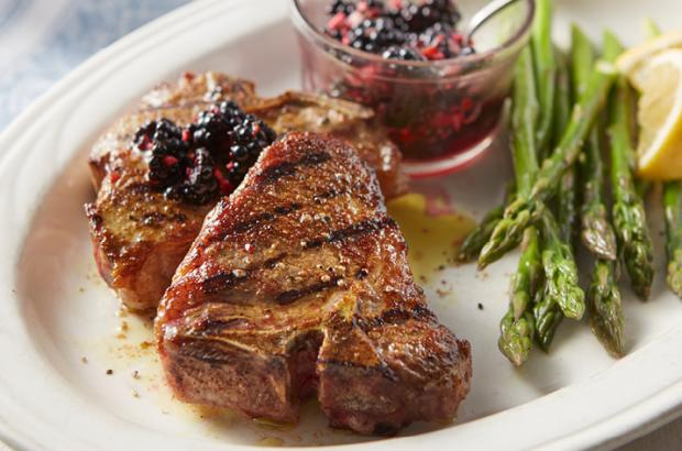Curry Lamb Chops with Blackberry Chutney