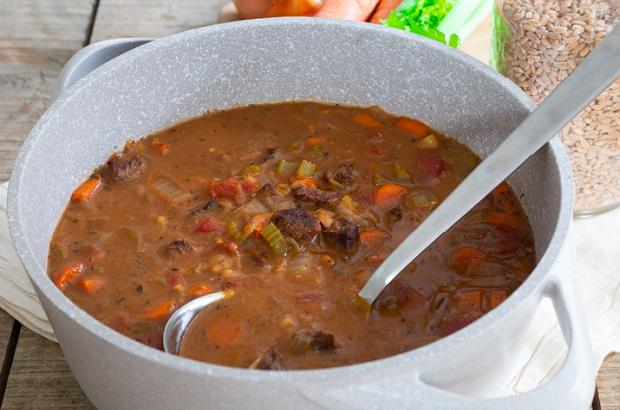 Pot of Beef and Barley Soup