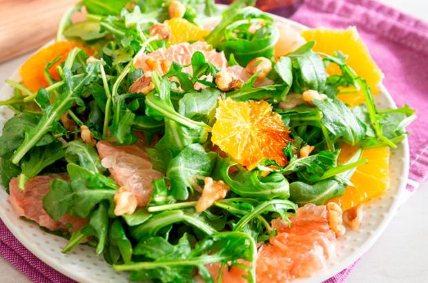 Plate of Citrus and Arugula Salad with Balsamic Dressing