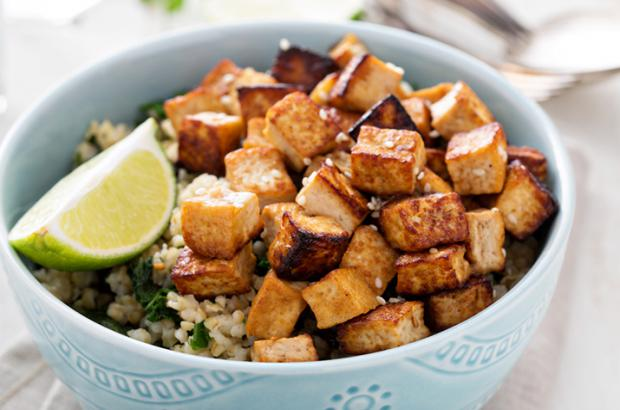 Ginger Baked Tofu on a bed of rice