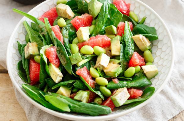 Grapefruit, Spinach and Edamame Salad with Avocado