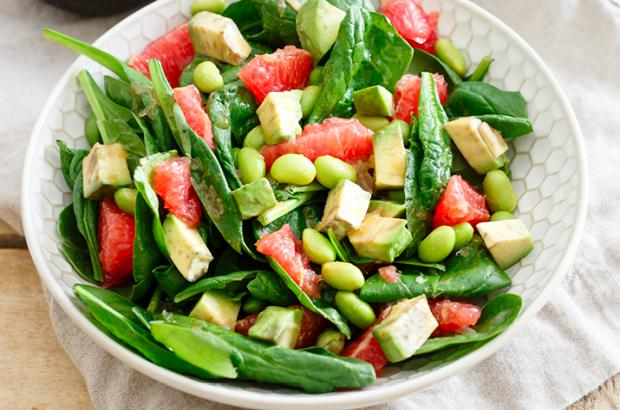 Grapefruit, Spinach and Edamame Salad with Avocado