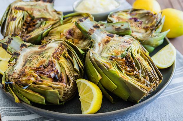 Grilled Artichokes with Parmesan Aioli