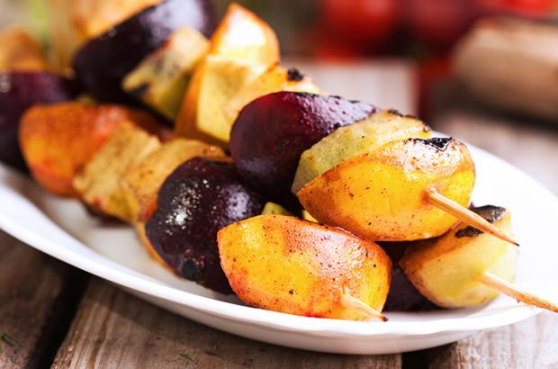 Grilled Fruit Kebabs on a plate
