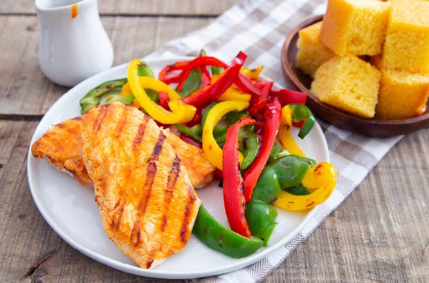 Grilled Hot Chicken with grilled peppers and cornbread
