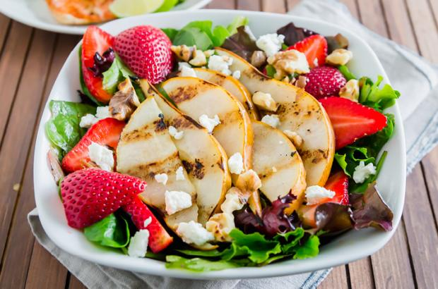 Grilled Pear Salad with Strawberries and Chevre on a Plate