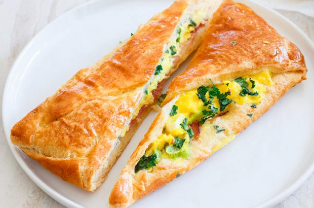 Ham and Gruyere Breakfast Roll with Eggs