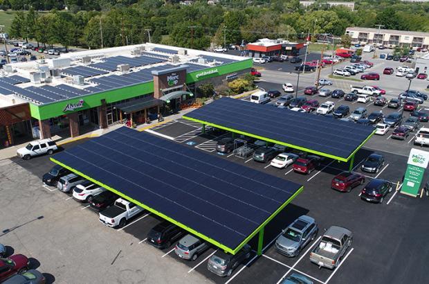 Solar panels across The Merc Co+op in Lawrence, KS