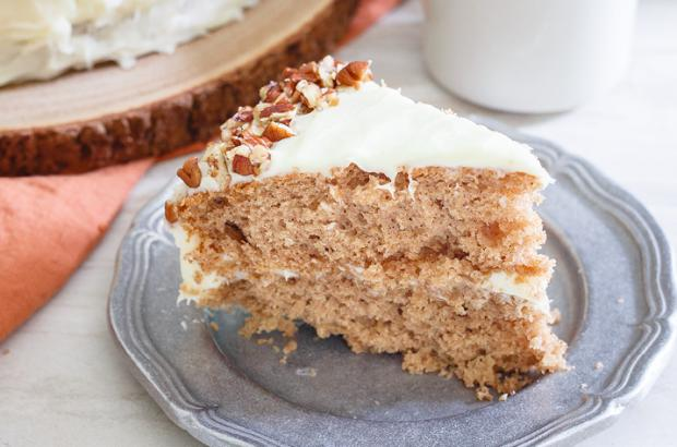 Slice of hummingbird cake on a plate