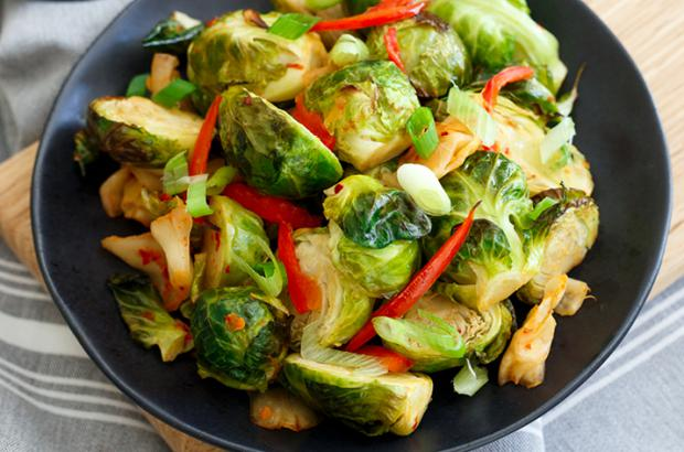 Brussels sprouts with kimchi