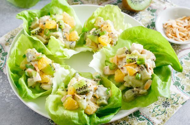 Kiwi Chicken Salad in lettuce leaves