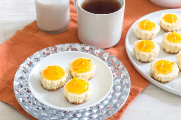 Lemon Cheesecake Bites in paper mini muffin paper liners