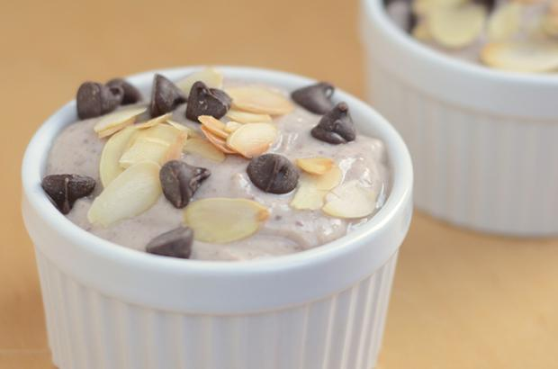 Maple Chocolate Tofy Pudding topped with chocolate chips and toasted almonds