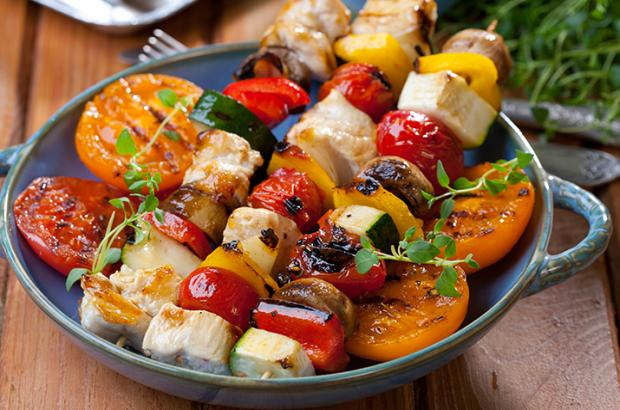 Marinated, grilled veggie and chicken skewers