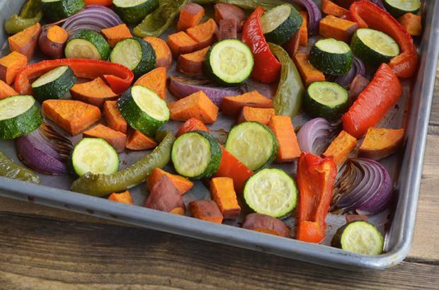 Mediterranean Roasted Vegetables on a sheet pan