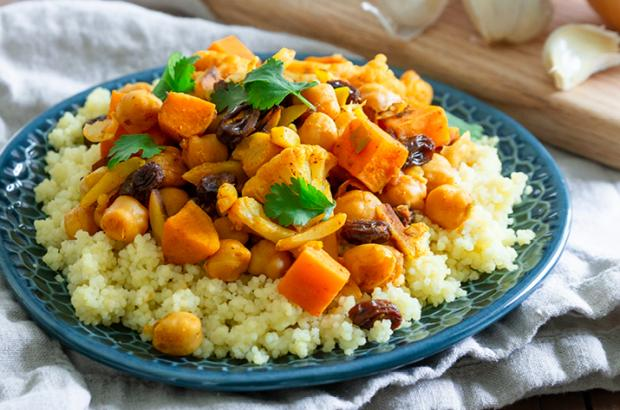 Moroccan Vegetable Tagine with Chickpeas atop couscous