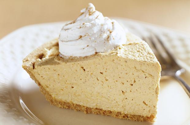 Pumpkin Ice Cream Pie Slice with Whipped Cream
