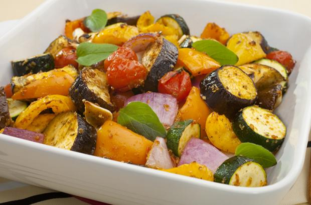 Roasted Ratatouille in a White Casserole Dish