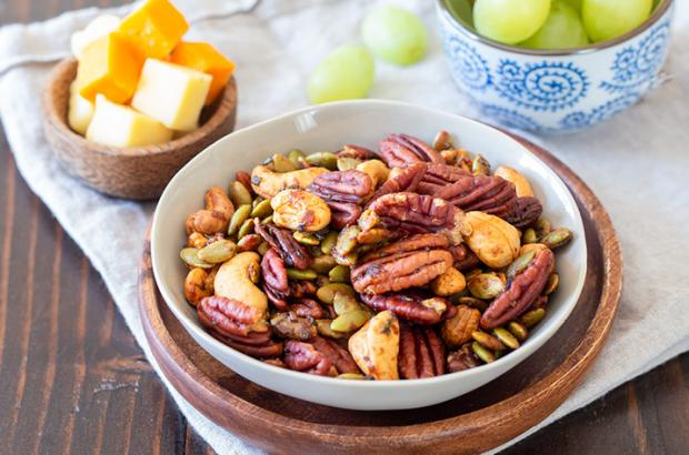 Bowl of Rosemary Spiced Nut Mix
