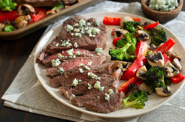 Sheet Pan Steak with Blue Cheese and Broccoli