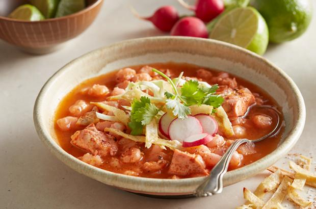 Bowl of Slow Cooker Chicken Posole