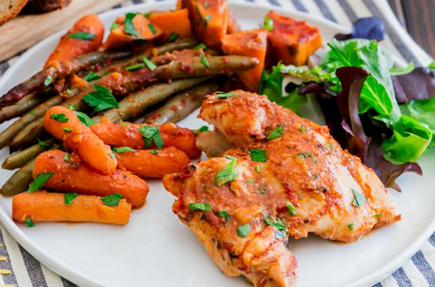 Platter of Slow Cooked Chicken Thighs and Vegetables
