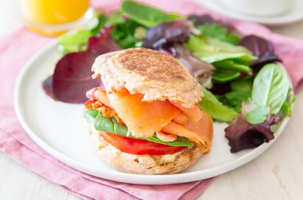 English Muffin Smoked Salmon BLT Sandwich