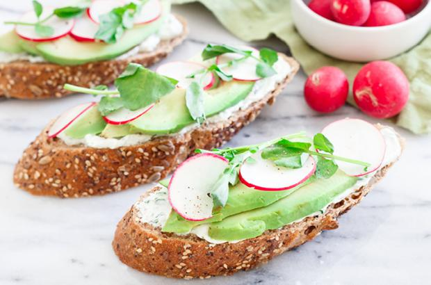 Avocado toast with goat cheese, avocado and radishes