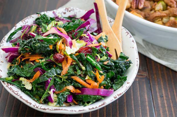 Bowl of colorful Thanksgiving Slaw