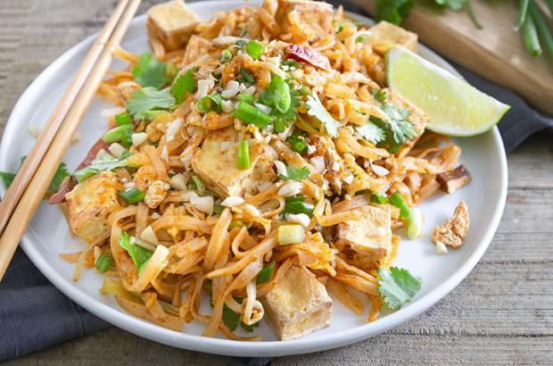 Plate of Tofu Pad Thai with cilantro and green onions