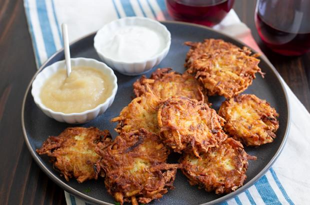 Potato latkes on a plate