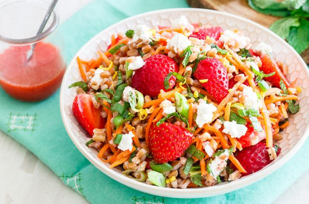 Wheatberry, strawberry picnic salad