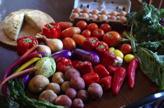 CSA box with vegetables