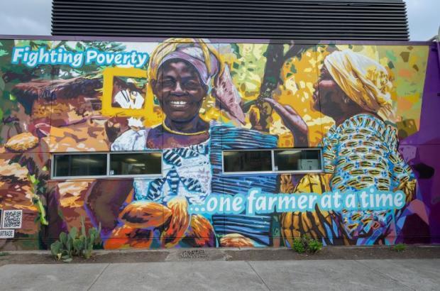 Fair trade mural at Wheatsville Food Co-op