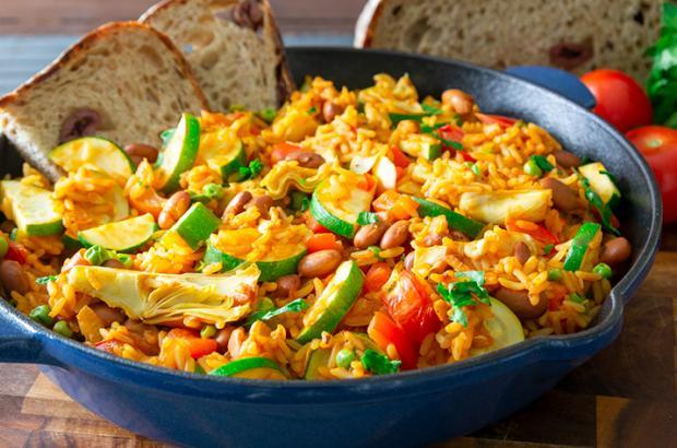 Pan of White Bean and Vegetable Paella