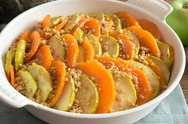 Winter squash and apple bake in a casserole dish