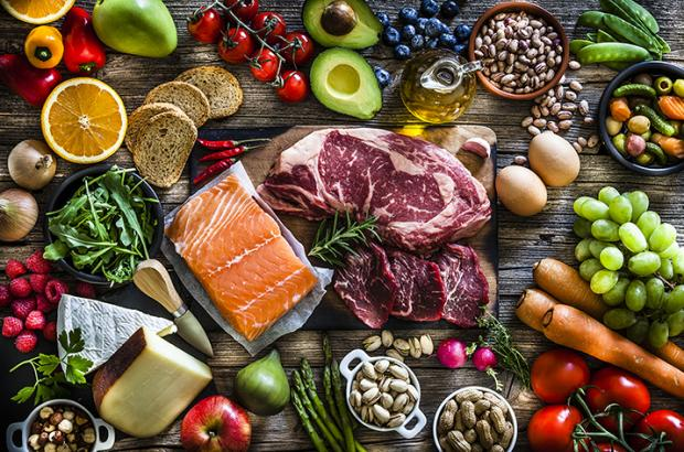 Overhead shot of meats and produce