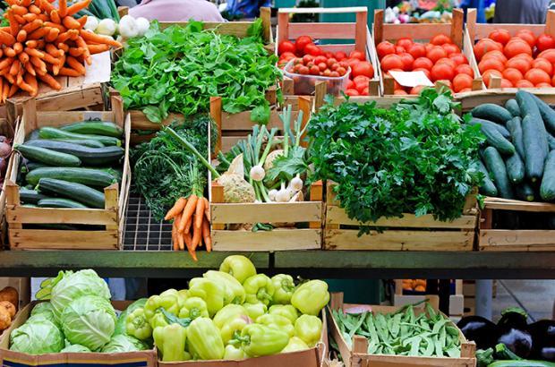 Farmers Market with Fresh Produce