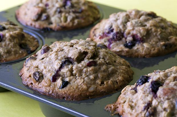 Blueberry muffins made with frozen blueberries