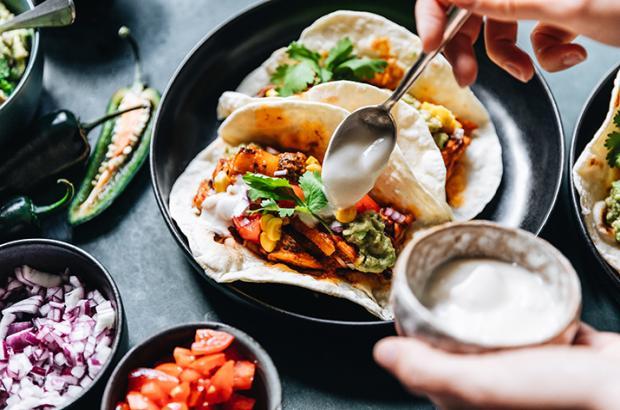 Vegan Tacos Being Made