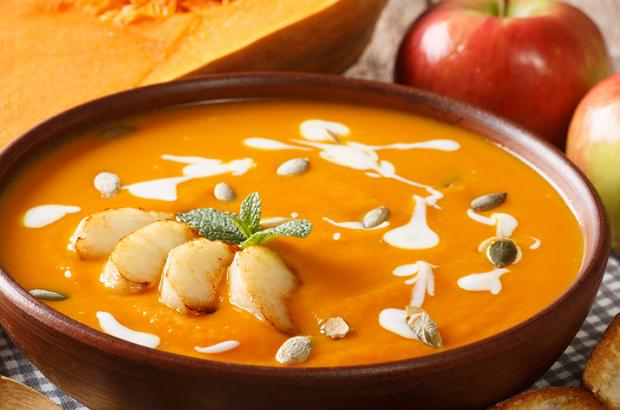 Bowl of Butternut Apple Soup with Ginger