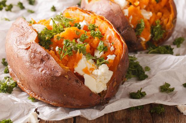 Baked Sweet Potatoes with Feta and Parsley