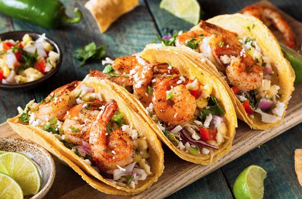 Shrimp Tacos on a Cutting Board