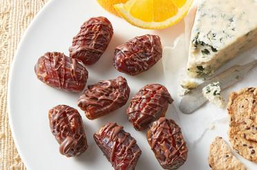 Tahini Stuffed Dates with Cinnamon Chocolate