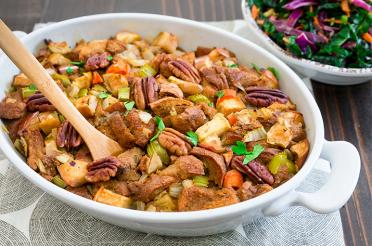 Apple and Celery Stuffing in a casserole dish